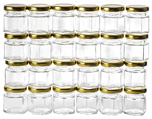 GoJars 1.5oz Hexagon Glass Jars 24 pack (24, 1.5oz) -