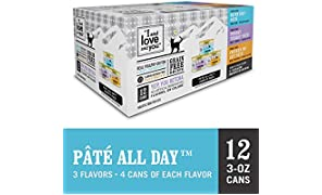 """I and love and you"" Naked Essentials Canned Wet Cat Food - Variety Pack: Chicken Recipe, Turkey Recipe, Cod Recipe, 3-Ounce, Pack of 12 Cans"