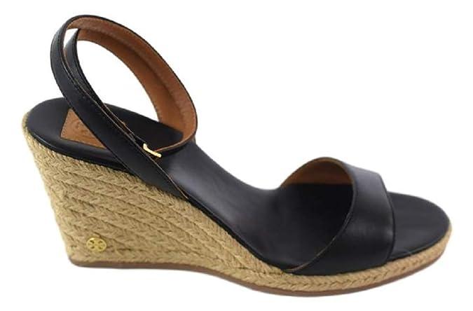 5a33977d028909 Amazon.com  Tory Burch 40022 Landon Wedge Espadrille Ankle Strap Sandal - Black