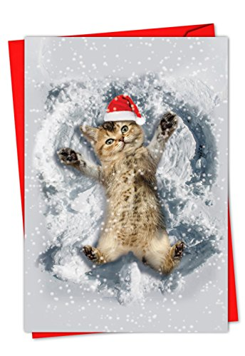 - 12 'Critter Snow Angels' Boxed Christmas Cards w/ Envelopes 4.63 x 6.75 inch, Cute Kitty Cat Making Snow Angels Holiday Notes, Kitten Playing in Snow Cards, Animal-Themed Stationary C4187BXSG-B12