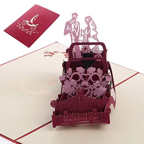 3D Pop up Vintage Car Greeting Card Wedding