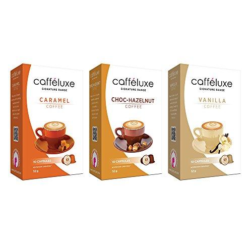 Caffeluxe Nespresso OriginalLine Compatible Coffee Capsules - Signature Flavored Collection (Caramel, Chocolate-Hazelnut, Vanilla) (60 count, $.45 per - Capsule Collection
