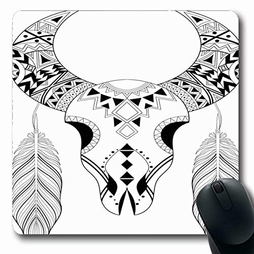 Ahawoso Mousepads for Computers Abstract Buffalo Zentangle Skull Boho Feathers Hand Culture Wildlife Longhorn Tribal American Anatomy Oblong Shape 7.9 x 9.5 Inches Non-Slip Oblong Gaming Mouse Pad