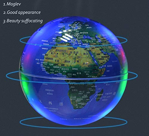 Magnetic Floating Map Globe with Round Socket, 4'' Rotating Planet Earth Globe Ball Anti Gravity LED Light Lamp- Educational Gifts for Kids, Home Office Desk Decoration,Business Gift(Blue) by WanTang (Image #6)