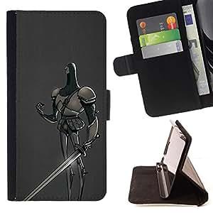 BullDog Case - FOR/Sony Xperia Z1 L39 / - / MEDIEVAL KNIGHT FAIRY TALE SWORD HERO /- Monedero de cuero de la PU Llevar cubierta de la caja con el ID Credit Card Slots Flip funda de cuer