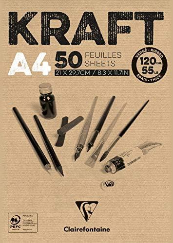 Clairefontaine 975837C Un rouleau de Kraft Brun verg/é 1mx10 m 120g