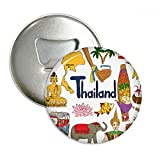 Thailand Landscap Animals National Flag Round Bottle Opener Refrigerator Magnet Pins Badge Button Gift 3pcs