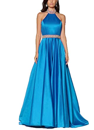 c92fd566d620 Image Unavailable. Image not available for. Color: Jurong Women's Halter  Prom Dresses Beaded Open Back ...