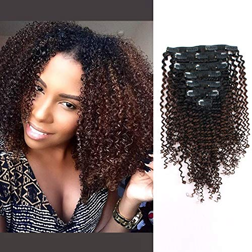 ABH AmazingBeauty Hair 3C 4A Kinkys Curly Ombre Hair Extensions Double Weft Real Remy Human Hair for African American, Natural Black Fading into Chocolate Brown Two Tone Color TN-4, 16 Inch
