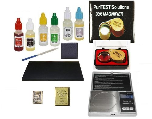 Pro ClockSmith/Jeweler Tools-Complete Purity Test Kit with Jewelry Scale, Loupe, File, and Gold and Silver Bars Set