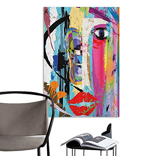 Brandosn Decals for Home Room Decoration Art Contemporary Paint Strokes Splashes Face Mask Paint Kiss Graffiti Grunge Creative Theme Multicolor Hall Fashion W8 x H10