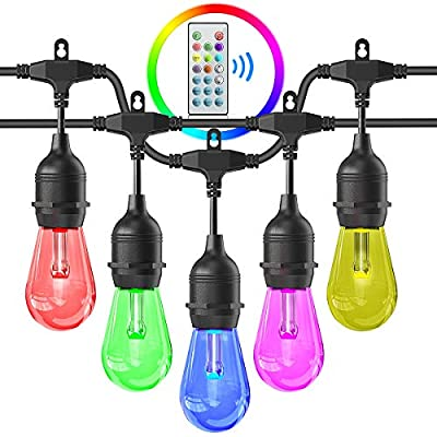 Outdoors String Lights, iBesi 48FT RGB LED String Lights Waterproof with Commercial Grade, Dimmable LED Heavy Duty Hanging Patio String Lights with Remote For Garden, Party, Bar, Cafe Shop, UL LISTED.