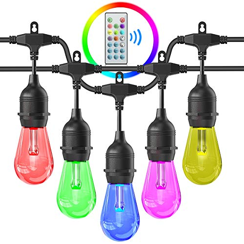 Outdoors String Lights, iBesi 48FT RGB LED String Lights Waterproof with Commercial Grade, Dimmable LED Heavy Duty Hanging Patio String Lights with Remote For Garden, Party, Bar, Cafe Shop, UL LISTED. (Outdoor Lights Patio)