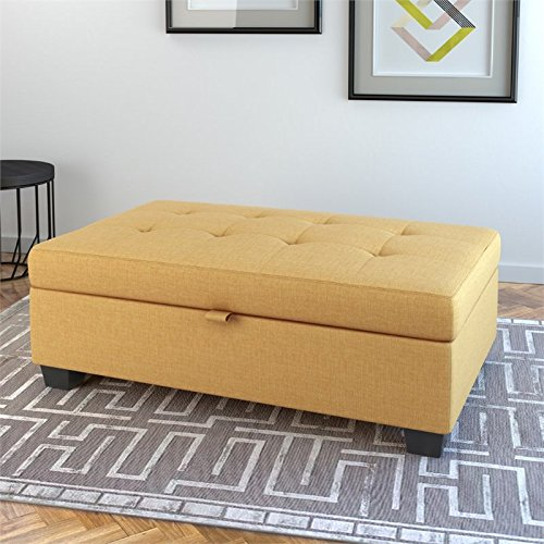 CorLiving LAD-184-O Antonio Storage Ottoman, Yellow