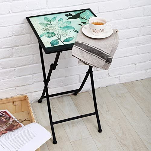 CEDAR HOME Side Table Outdoor Garden Patio Metal Accent Desk with Square Hand Painted Glass, Teal