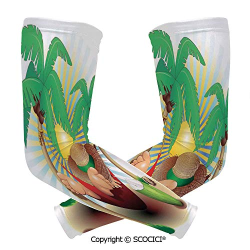 Comfort and Durable Lightweight Arm Guard Sleeve Cute Illustration of Relax Exotic Summer Holidays on Hammock Theme Hot Paradise Lands Decorative Breathable, Flexible Sleeves Protection