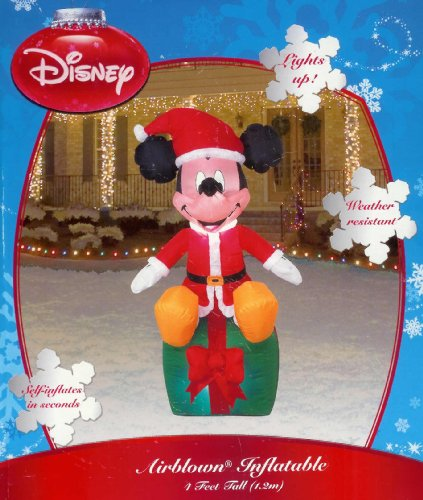 amazoncom disney mickey on present 4 ft christmas inflatable home kitchen - Disney Christmas Inflatables