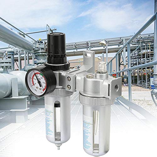 "Air Source Treatment Kit,Air Pressure Compressor Regulator Filter Lubricator Oil Water Regulator with Gauge(SFC200-1/4"")"