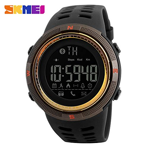 Price comparison product image Choosebuy Bluetooth Smart Watch, Touch Screen Sports Smart Wristwatch IP67 Waterproof Sleeping Fitness Tracker/Remote Camera/Night Backlit Smart Bracelet for Android IOS for Women Men Elderly (Gold)