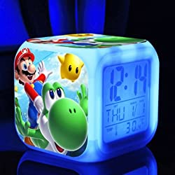 AThiToZone (arrive within 3-5 weeks). SUPER MARIO BROS 7 Colors Change Digital Alarm LED Clock Game Cartoon Night Colorful Toys for Kids (Style 4)