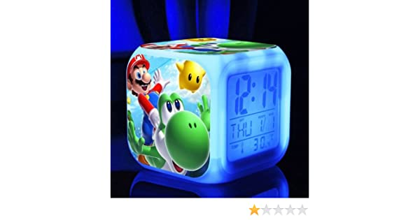 SUPER MARIO BROS 7 Colors Change Digital Alarm LED Clock Game Cartoon Night Colorful Toys for Kids (Style 4): Home & Kitchen