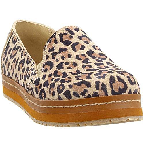 TOMS Women's Palma Leather Wrap Desert Tan Leopard Print Suede 8.5 B US