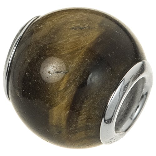 .925 Sterling Silver Round Natural Tiger Eye Stone Bead For European Charm Bracelets (Sterling Silver Tiger Bead Eye)