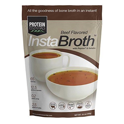 InstaBroth, Collagen and Gelatin Rich Bone Broth Powder with 12.5g Protein (6.4oz) (Beef)