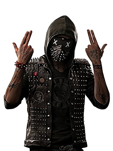 Watch Dogs 2 Dedsec Wrench Vest – Shawn Baichoo Black Real Leather Vest with Removable Hoodie (Large)