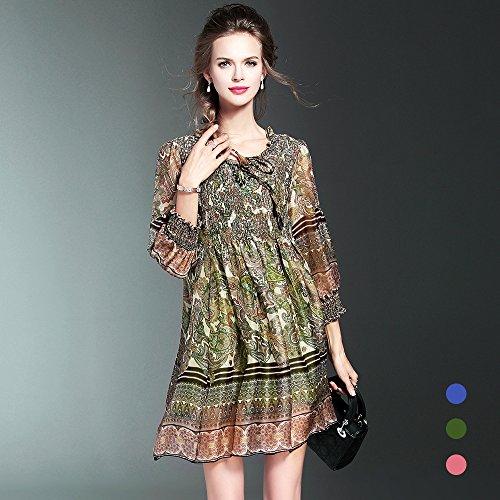 De green El Verano Primavera Seda Vestido La Y Código Impresión ZHUDJ Floja De UqwZRYFn