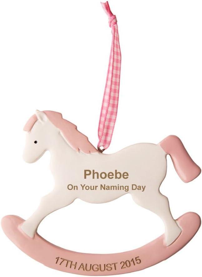 Personalizable rosa caballo balancín: Naming día, grabado Naming día decoración, las niñas Naming día recuerdo