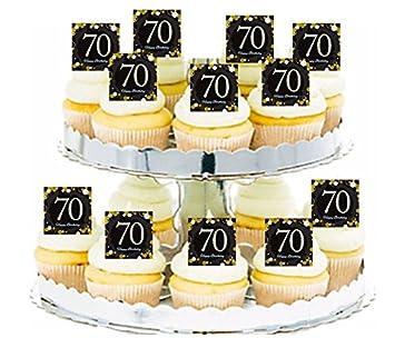 Happy 70th Birthday Black Gold 24pk Edible Cupcake Decoration Topper Picks