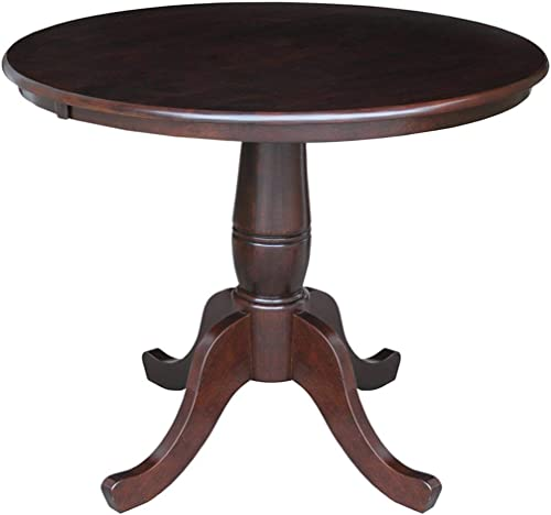 International Concepts 30″ Round Top Pedestal Table Rich Mocha/36 Dia./30″ H
