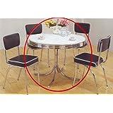 coaster retro round dining kitchen table in chrome white. beautiful ideas. Home Design Ideas