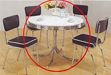 coaster retro round dining kitchen table in chrome white - Chrome Kitchen Table