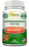 Pure Ashwagandha 1200mg with BioPerine – 180 Vegan Capsules – Ashwagandha Root Powder Supplement w/Black Pepper Extract for Anxiety & Stress Relief – Pills to Support Mood, Immune & Thyroid For Sale