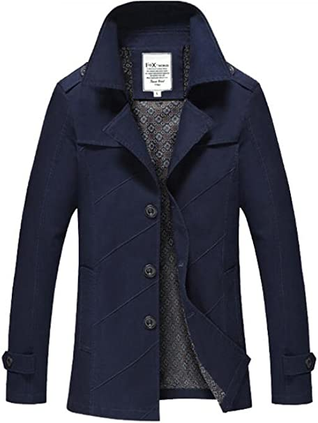 Vogstyle Herren Jungen Langarm Cabanjacke Reverskragen Trenchcoat Mantel Kurzmantel Einreihig Jack Anzug