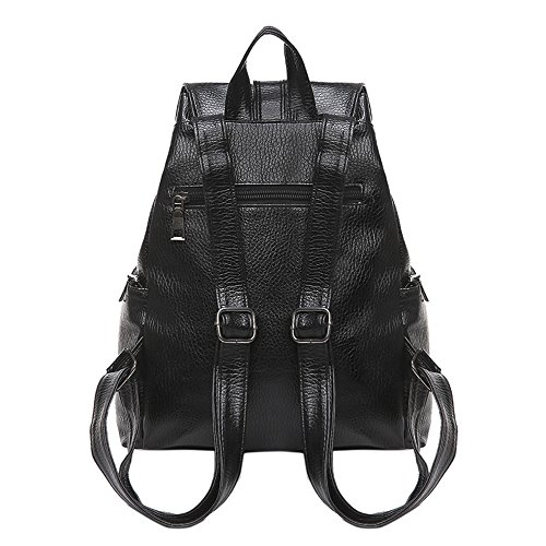 Shoulder Backpack Travel Alixyz School 3 Leather PU Women Black Fashion Bags Tassel Bag zFwqzY4