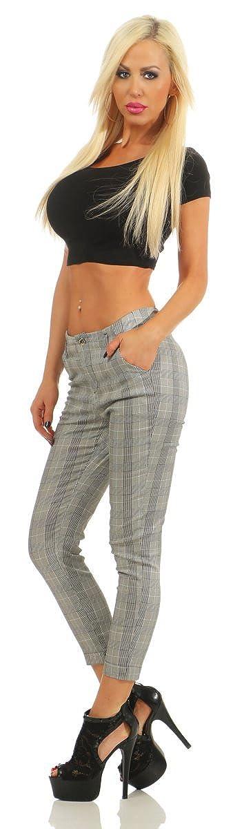 11576 Sleeke Damen Karo Hose Treggings Business Karierte 7//8 Damenhose Pants