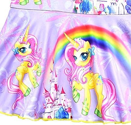 Monissy Chicas Verano Unicornio Arco Iris Bañador de Una Pieza Volantes Poliester Falda-Pantalón Suave Trajes de Baño Natación Piscina Cumpleaños 3-10años 100-140 Ropa de Playa Azul Morado