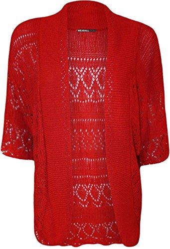 Crochet nbsp; A Ladies 8 Size Cardigan Plus Open Maniche Donna Taglie Coprispalle Corte Maglia Top 6xwABEwFq