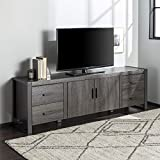 """Walker Edison Furniture Company Industrial Modern Wood Universal Stand with Cabinet Doors for TV's up to 80"""" Living Room Storage Shelves Entertainment Center, 70 Inch, Charcoal Grey"""