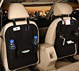 M'Baby 1pc Car Backseat Organizer Woolen Felt Seat Pocket Protector Storage for Bottle, Tissue Box, Toys (Black)