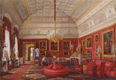 Oil Painting 'Hau Edward Petrovich,The First Reserved Apartment,The Large Study Of Grand Princess Maria Nikolayevna,1807-1887' Printing On Perfect Effect Canvas , 16x23 Inch / 41x59 Cm ,the Best Powder Room Gallery Art And Home Gallery Art And Gifts Is This Replica Art DecorativePrints On Canvas
