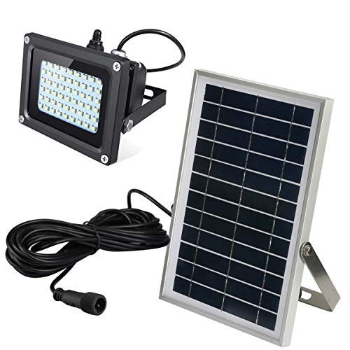 Ultra Bright Solar Flood Light Outdoor with Long Cable - Waterproof Wireless Solar Powered Security White Spotlight Wide Area Lighting for Garden, Wall, Driveway, Deck, Patio, Farm, Pathway, Street
