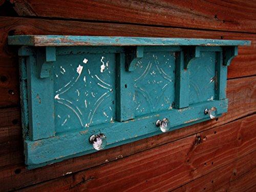 Antique Style Turquoise Blue Wall shelf, Distressed Wall Shelf, French Country Wall Shelf, Shabby Chic Shelf, Book Shelf, Kitchen Shelf, glass knob hooks, 24