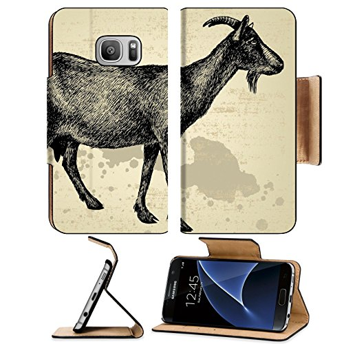 Liili Premium Samsung Galaxy S7 Flip Pu Leather Wallet Case Goat with horns hand drawing Vector illustration Photo 15695162 Simple Snap (Old Antique Etching)