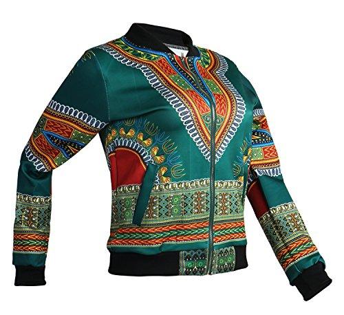 Playworld Women's Long Sleeve Print Dashiki Ethnic Style Africa Baseball Jacket,Green,Medium by Playworld (Image #4)