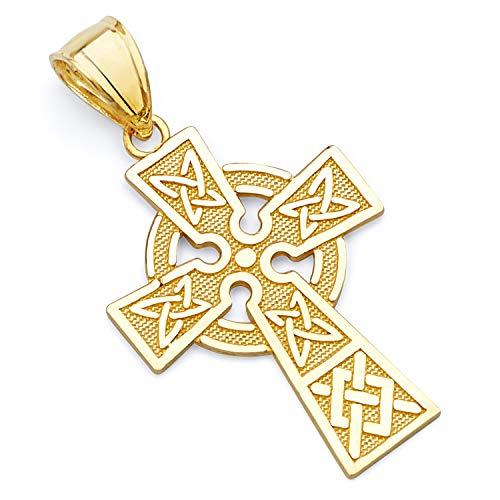 14k Yellow Gold Religious Celtic Cross Charm Pendant (Design Celtic Pendant Yellow Gold)