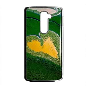 Personalized Clear Phone Case For LG G2,attractive heart bog green field